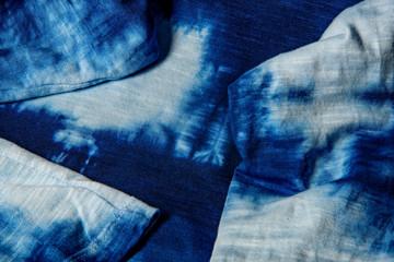 home made cotton fabric batiked with indigo - close up