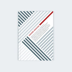 Minimalistic brochure template design. Flyer, booklet, annual report cover template. Modern diagonal abstract stripes. Place under the heading and text. Vector illustration