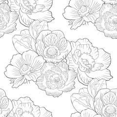 seamless pattern flower bloom japanese anemone.  illustration
