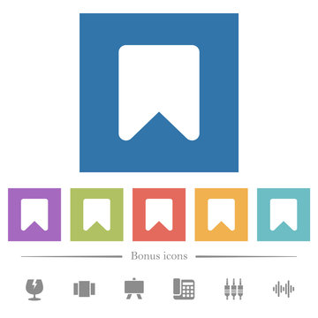 Bookmark flat white icons in square backgrounds