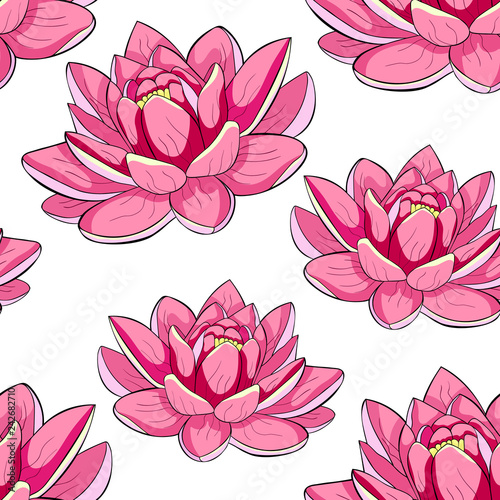 Seamless Pattern Lotus Flower Spiritual India Illustration Stock