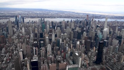 Wall Mural - Aerial view of Midtown Manhattan from helicopter, New York City