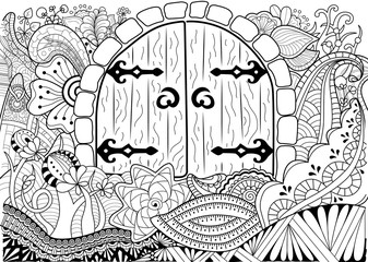 background with door and floral elements