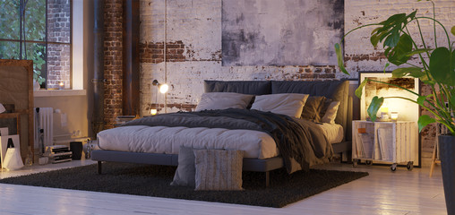 bed in old vintage industrial loft apartment with candle light- 3d rendering