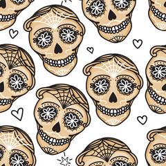 Vector Seamless pattern Gold color Calavera skull. Hand drawn Virile male design texture