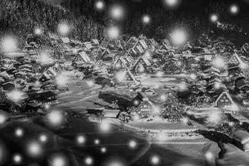 【日本】冬の白川郷 白黒写真