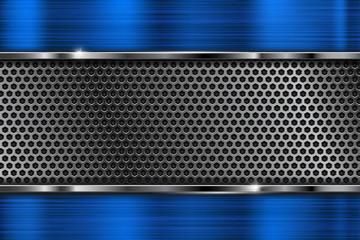 Perforated texture with blue metal frame Wall mural