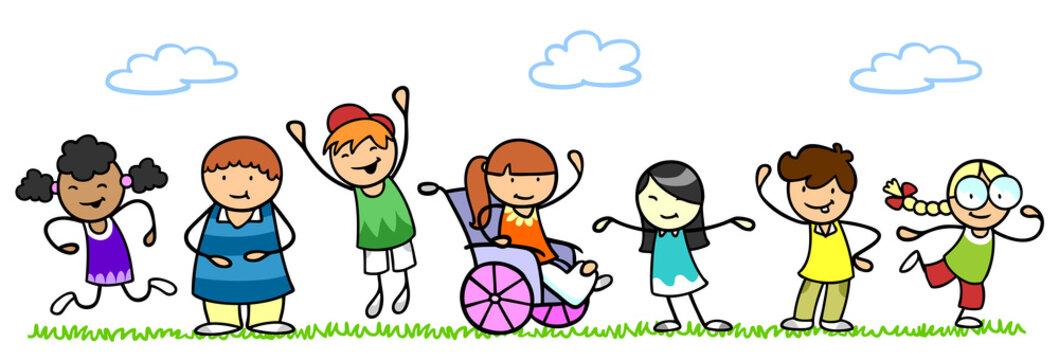Multikulturelle Gruppe Kinder mit Rollstuhl