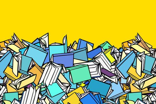 Header Rahmen Hintergrund mit vielen Büchern
