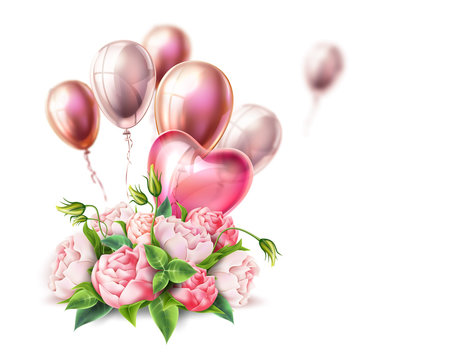 Vector rose flower bouquet valentine day realistic
