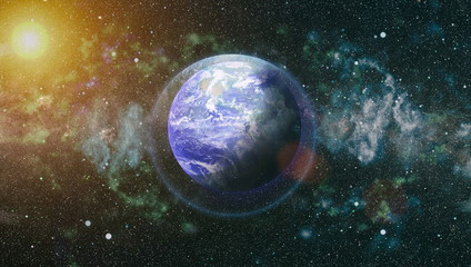 Star Field Showing Night Sky With Stars and Nebula. View of Earth From Space. Elements of this image furnished by NASA