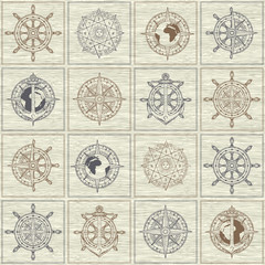 Vector seamless background on the theme of nautical travel, adventure and discovery. Wind roses, ship anchors, compasses, helms and other nautical symbols on the checkered background in vintage style