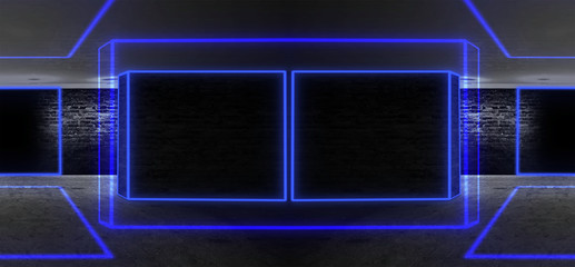 Background of an empty black corridor with neon light. Abstract background with lines and glow 3D illustration