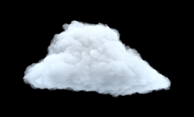 3d rendering of a white bulky cumulus cloud on a black background.