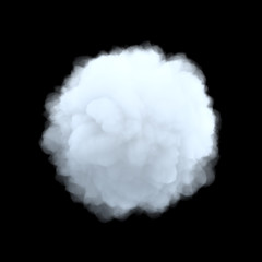 3d rendering of a white bulky cumulus cloud in shape of circle on a black background.