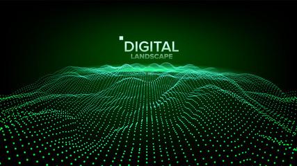 Digital Landscape Vector. Data Technology. Wave Mountain. Tech Surface. Dot Land. Geometric Data. 3D Illustration
