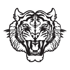 Roaring tiger's head logo isolated on white. Black and white tiger vector illustration