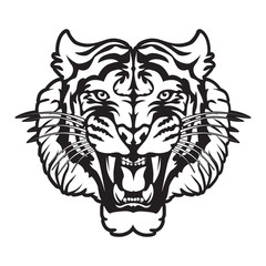 Tiger angry face tattoo. Vector illustration of big cat head. Tiger print.