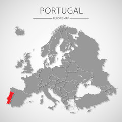 Map of European Union with the identication of Portugal. Map of Portugal. Political map of Europe in gray color. European Union countries. Vector stock.