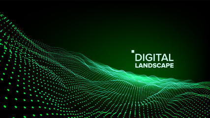 Abstract Landscape Vector. Particle Wireframe. Big Flow. Cyber Concept. Futuristic Graphic. Relief Structure. 3D Illustration