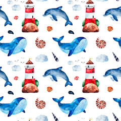 Underwater creatures.Watercolor seamless pattern with whale,dolphinseashells,lighthouse and more.Perfect for wallpaper,print,packaging,invitations,packaging,cover design,travel.