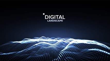 Data Landscape Vector. Energy Space. Topography Code. Array Design. Data Technology. Wave Mountain. 3D Illustration