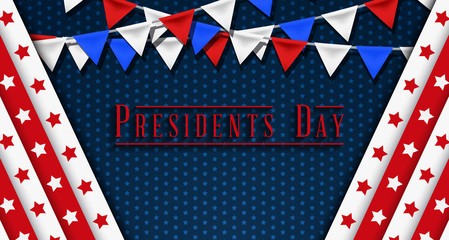 Presidents' Day. Presidents Day poster. Happy Presidents Day Background and symbols with USA flag. Vector illustration - Presidents' Day in the United States.