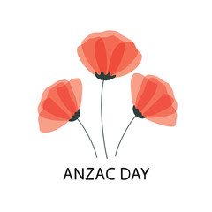 Anzac Day vector poster. Lest We forget. Paper cut Red Poppy flower - a symbol of International Day of Remembrance. Vector