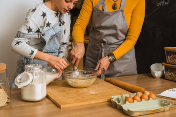 baking together in kitchen