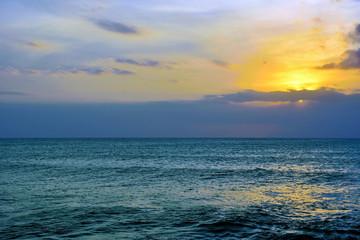 sunset in punta braccetto beach, ragusa, sicily, italy