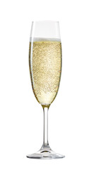 Champagne glass with bubbles isolated on white background