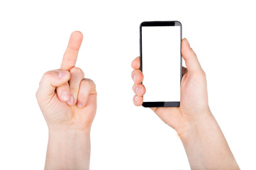 A man holding smartphone in hand and other hand showing middle finger