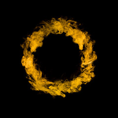 circle from yellow colorful smoke isolated on black background