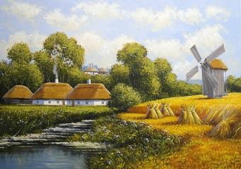 Oil paintings rural landscape. Old village. Fine art.
