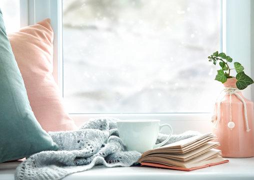 Winter life style background,cozy winter rest backdrop empty copy space.