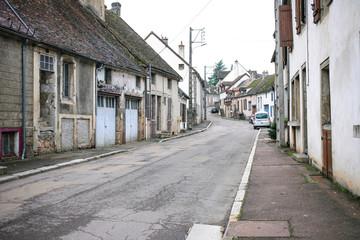 Small street of Saulieu historical center old city center
