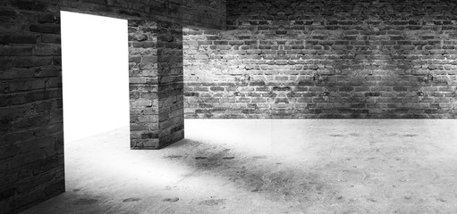 Empty room with old brick walls, large windows, dark room, sunlight. Illumination of the room. 3D illustration