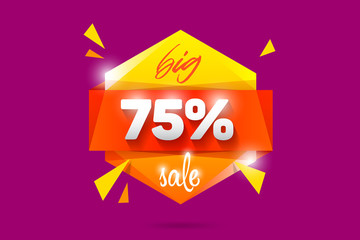 75% Sale badge banner template design. Special offer vector illustration. Black friday sale logo.