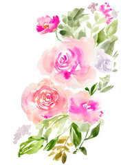 Isolated Pink Watercolor Flowers