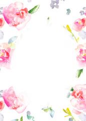 Blank Watercolor Flower Frame Background. Floral Frame Background with Watercolor Flower Border