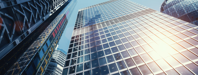 Deurstickers Centraal Europa modern office buildings skyscraper in London city