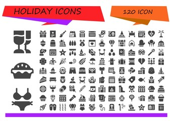 Vector icons pack of 120 filled holiday icons
