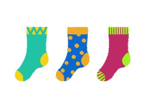 RVB de base. Vector illustration of set of kid colorful  socks. Doted blue socks, Striped pink socks.