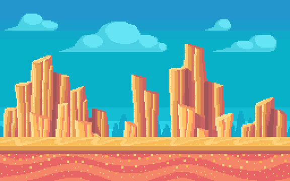 Pixel art desert at day. Seamless background.