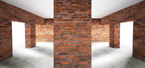 Empty room with old brick walls, large windows, bright rooms, sunlight. 3D illustration