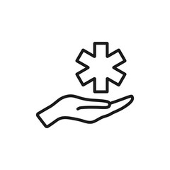 Medical star outline icon. linear style sign for mobile concept and web design. Pharmacy simple line vector icon. Hospital symbol, logo illustration. Pixel perfect vector graphics