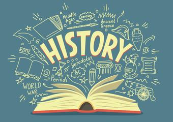 Obraz History doodles with lettering.  - fototapety do salonu