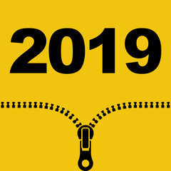 2019 icon Happy New year. Silhouette opens up zipper with 2019. Vector flat design. Isolated on yellow background.