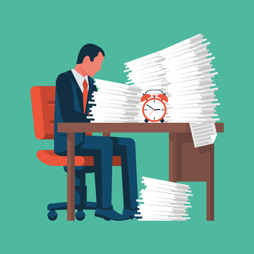 Businessman working with a pile of papers. A lot of work. A stack of documents. Vector illustration flat design. Isolated on background. Paperwork concept.