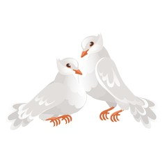 Two wedding doves isolated on white background. Symbol of love and wedding. Vector cartoon close-up illustration.